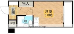 ファインクレスト・江坂 7階ワンルームの間取り