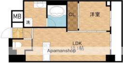 北大阪急行電鉄 江坂駅 徒歩5分の賃貸マンション 16階1LDKの間取り