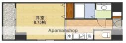 第6クリスタル新大阪 8階1Kの間取り