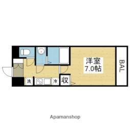 近鉄難波線 今里駅 徒歩7分の賃貸マンション 2階1Kの間取り
