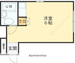近鉄南大阪線 高見ノ里駅 徒歩5分の賃貸マンション 1階ワンルームの間取り