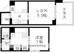 阪急甲陽線 苦楽園口駅 徒歩5分の賃貸マンション 1階1LDKの間取り