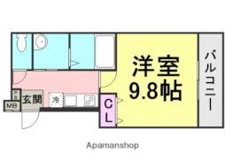フジパレス東園田2番館 2階1Kの間取り