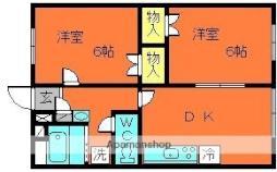 JR桜井線 三輪駅 徒歩15分の賃貸マンション 2階2DKの間取り