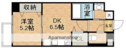 JR宇野線 大元駅 徒歩9分の賃貸マンション 4階1DKの間取り