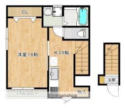 広島電鉄6系統 舟入幸町駅 徒歩13分の賃貸アパート 2階1Kの間取り