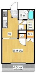 JR予讃線 伊予北条駅 徒歩18分の賃貸アパート 1階1Kの間取り