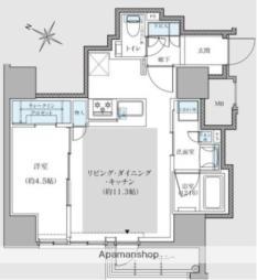 福岡市地下鉄空港線 赤坂駅 徒歩9分の賃貸マンション 11階1LDKの間取り