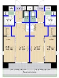 西鉄貝塚線 香椎宮前駅 徒歩2分の賃貸マンション 9階1LDKの間取り