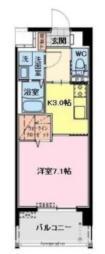 JR日豊本線 宮崎駅 徒歩6分の賃貸マンション 4階1Kの間取り
