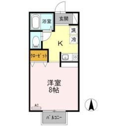 バス 山崎台入り口下車 徒歩2分の賃貸アパート 2階1Kの間取り