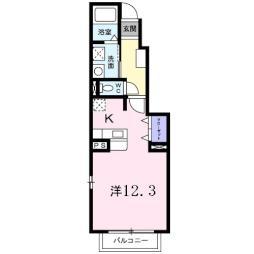 シャトー松田 1階1Kの間取り