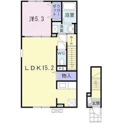 ブリーズガーデン3号館 2階1LDKの間取り