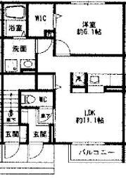仮)大角豆D-Room 1階1LDKの間取り
