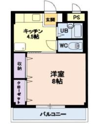 しなの鉄道北しなの 北長野駅 徒歩25分の賃貸アパート 2階1Kの間取り