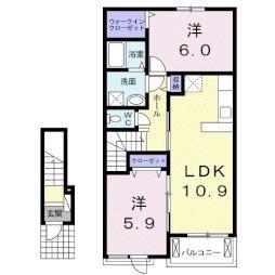 ペアシティ-ルネッサンス 2階2LDKの間取り