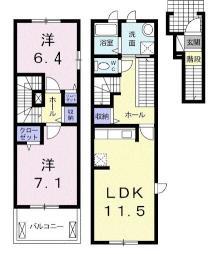 ウエストハウスA 2階2LDKの間取り