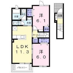 ハッピーハウス 3 2階2LDKの間取り