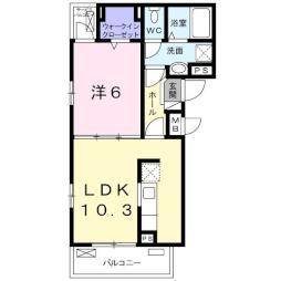 フィオーレ・タチバナC 2階1LDKの間取り