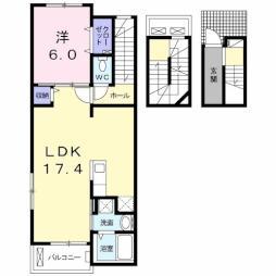 サウスブルック 3階1LDKの間取り