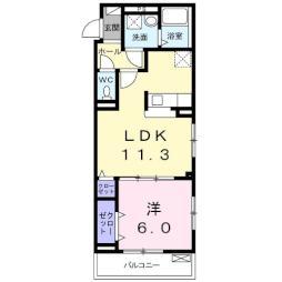 大室3丁目アパート(024617201) 3階1LDKの間取り