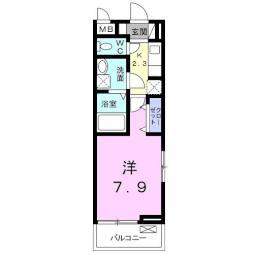 沼影アパート(024181802) 3階1Kの間取り
