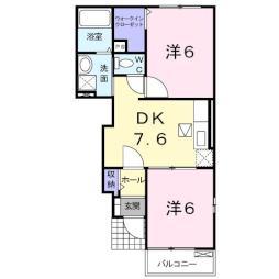 イストワールIII 1階2DKの間取り