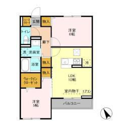 仮)D-room島名 A 1階2LDKの間取り